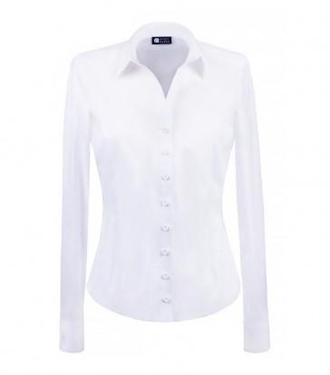elegancka, klasyczna koszula damska o prostym kroju, w klasycznym białym kolorze, z długim rękawem - do kupienia w sklepie internetowym