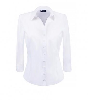 elegancka, klasyczna koszula damska o prostym kroju, w klasycznym białym kolorze, z rękawem 3/4 - do kupienia w sklepie internetowym