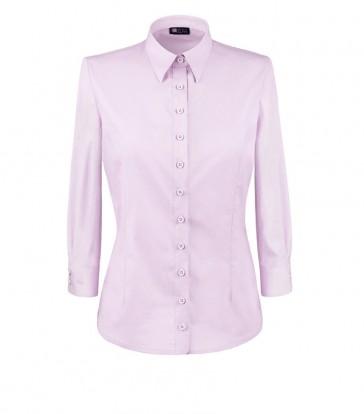 elegancka, klasyczna koszula damska o prostym kroju, w klasycznym różowym kolorze, z rękawem 3/4 - do kupienia w sklepie internetowym