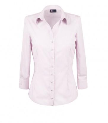 elegancka, klasyczna koszula damska o prostym kroju, biała w różowe paski, z rękawem 3/4 - do kupienia w sklepie internetowym