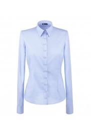 elegancka, klasyczna koszula damska o prostym kroju, w klasycznym niebieskim kolorze, z długim rękawem - do kupienia w sklepie internetowym