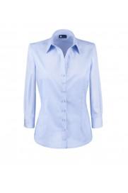 elegancka, klasyczna koszula damska o prostym kroju, w klasycznym niebieskim kolorze, z rękawem 3/4 - do kupienia w sklepie internetowym