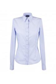 elegancka, klasyczna koszula damska o prostym kroju, biała w niebieskie paski, z długim rękawem - do kupienia w sklepie internetowym