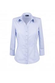 elegancka, klasyczna koszula damska o prostym kroju, biała w niebieskie paski, z rękawem 3/4 - do kupienia w sklepie internetowym