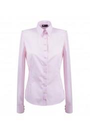 elegancka, klasyczna koszula damska o prostym kroju, w klasycznym różowym kolorze, z długim rękawem - do kupienia w sklepie internetowym