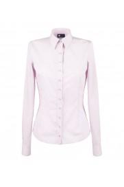 elegancka, klasyczna koszula damska o prostym kroju, biała w różowe paski, z długim rękawem - do kupienia w sklepie internetowym